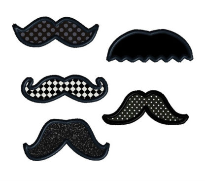 Mustache Pack Applique Machine Embroidery Design 1