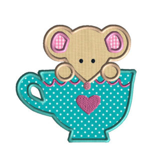 Mouse in a Teacup Applique Machine Embroidery Design 1