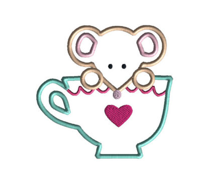 Mouse in a Teacup Applique Machine Embroidery Design 3