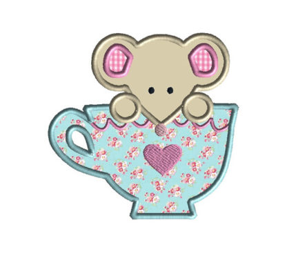 Mouse in a Teacup Applique Machine Embroidery Design 2
