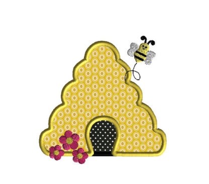 Bee Hive Applique Machine Embroidery Design 1