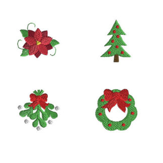 Mini Christmas Greens Machine Embroidery Design Set