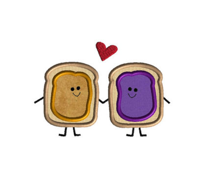 Peanut Butter and Jelly Love Applique Machine Embroidery Design 2