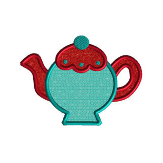 Teapot II Applique Machine Embroidery Design 1