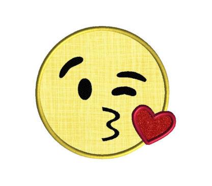 Emoji Kiss Face Applique Machine Embroidery Design 2