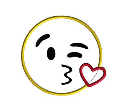 Emoji Kiss Face Applique Machine Embroidery Design 1