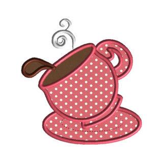 Teacup 3 Applique Machine Embroidery Design 1