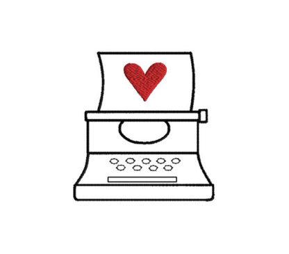 Valentine Typewriter Applique Machine Embroidery Design 2