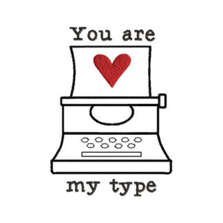 Valentine Typewriter Applique Machine Embroidery Design 1