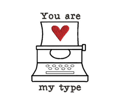 Valentine Typewriter Applique Machine Embroidery Design 1