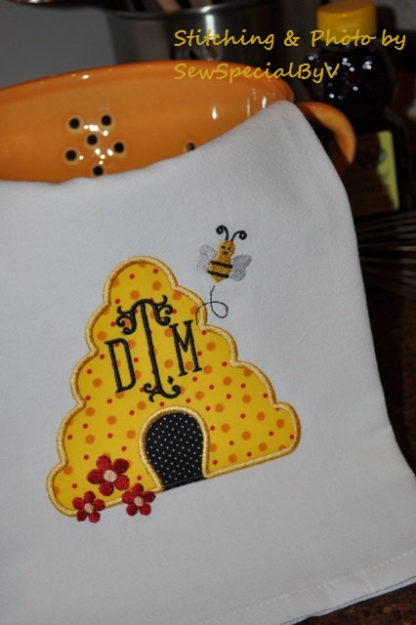 Bee Hive Applique Machine Embroidery Design 2