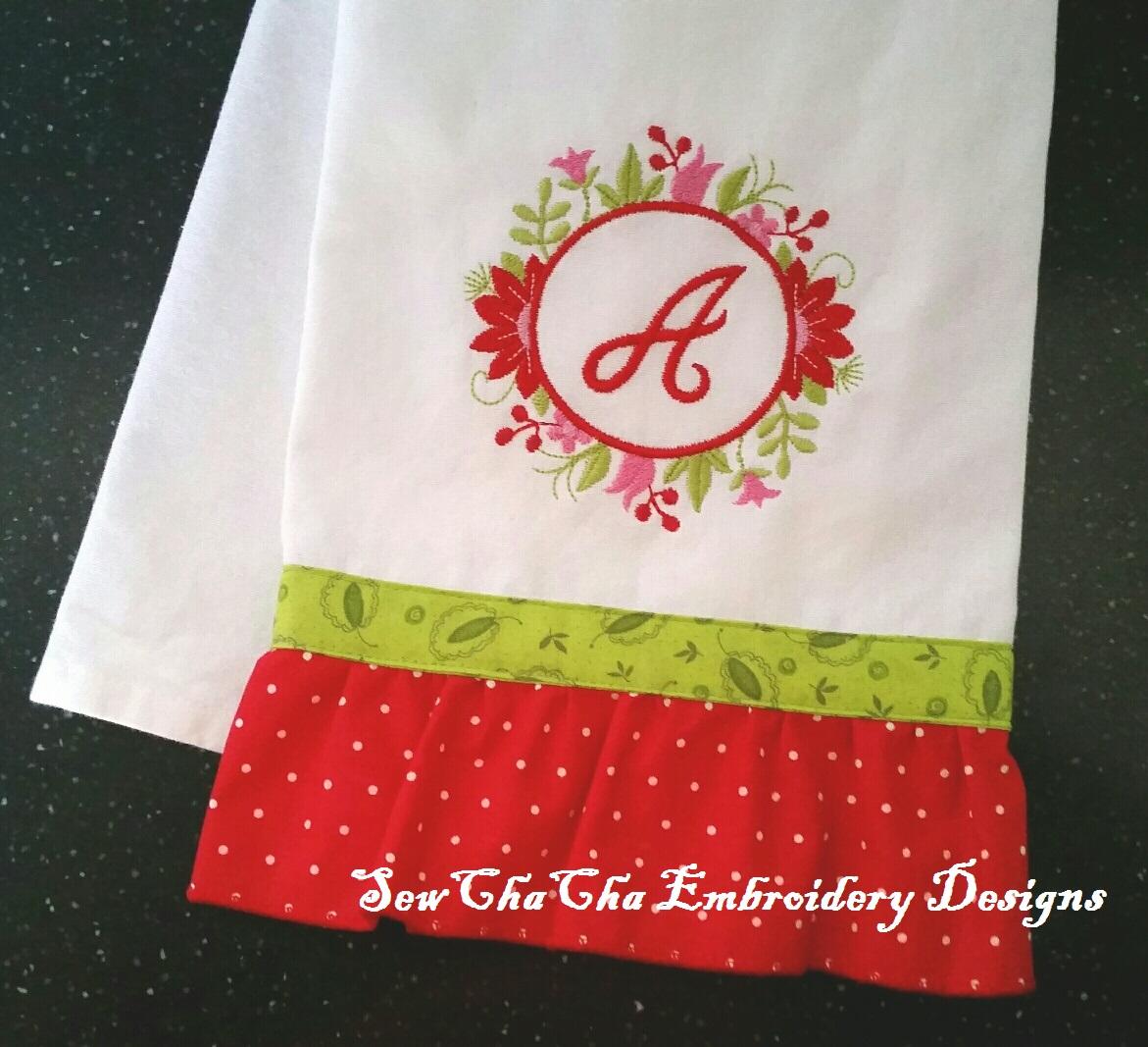 Floral Frame Applique Machine Embroidery Design
