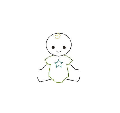 Baby Boy Stick Figure Applique Machine Embroidery Design 1