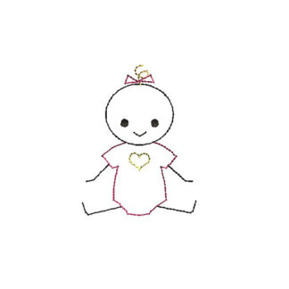 Baby Girl Stick Figure Applique Machine Embroidery Design 1