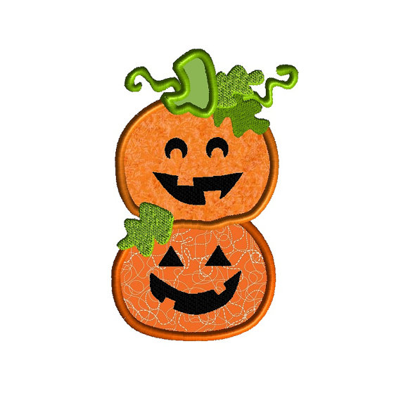 Stacked Pumpkins Applique Machine Embroidery Design 1