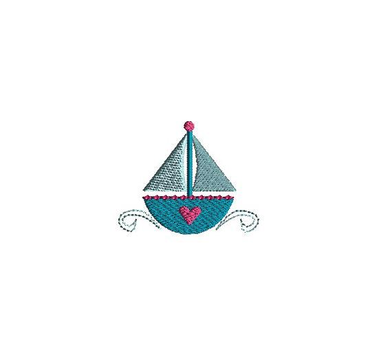 Mini Heart Sailboat Machine Embroidery Design