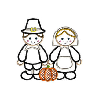 Pilgrims Applique Machine Embroidery Design 1