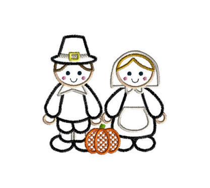 Pilgrims Applique Machine Embroidery Design 1