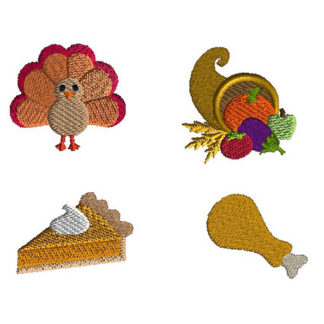Mini Thanksgiving Feast Machine Embroidery Design Set