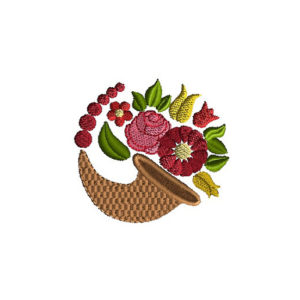 Cornucopia Floral Machine Embroidery Design 1
