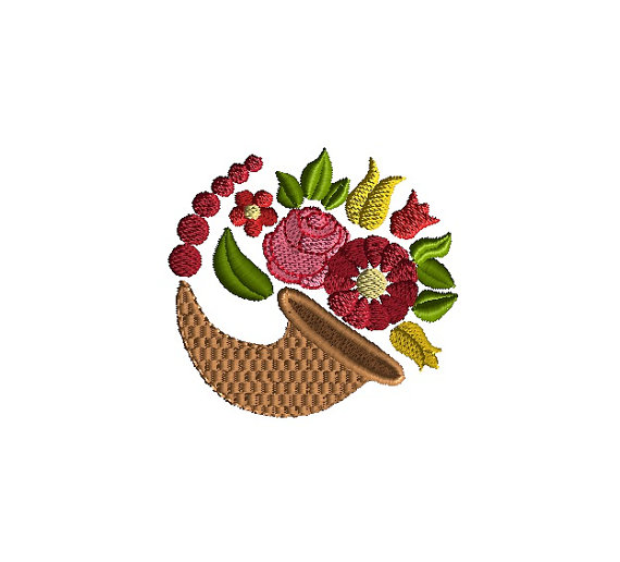Cornucopia Floral Machine Embroidery Design 1