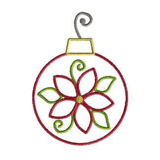 Poinsettia Ornament Applique Machine Embroidery Design