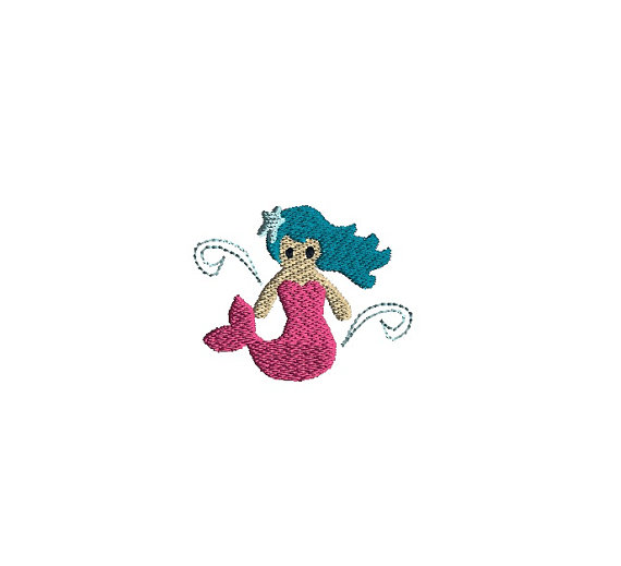 Mini Mermaid Machine Embroidery Design