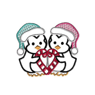 Penguin Love Machine Embroidery Design