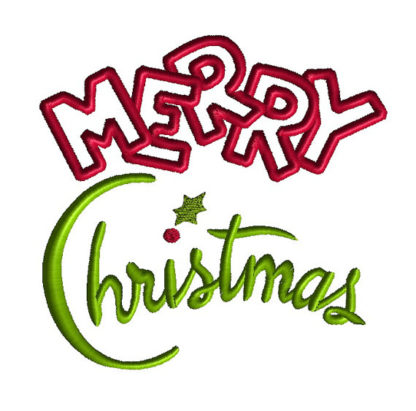 Merry Christmas Applique Machine Embroidery Design 2