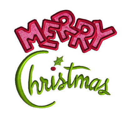 Merry Christmas Applique Machine Embroidery Design 1