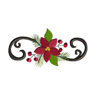 Poinsettia Flourish Machine Embroidery Design 1