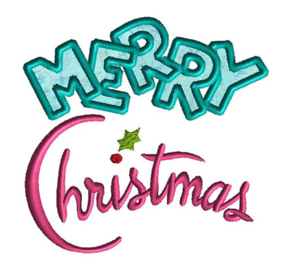 Merry Christmas Applique Machine Embroidery Design 3