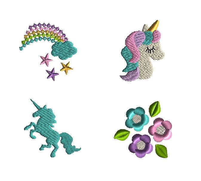 Mini Unicorn Machine Embroidery Design Set