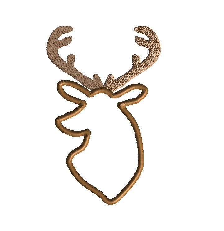 Deer head applique machine embroidery design