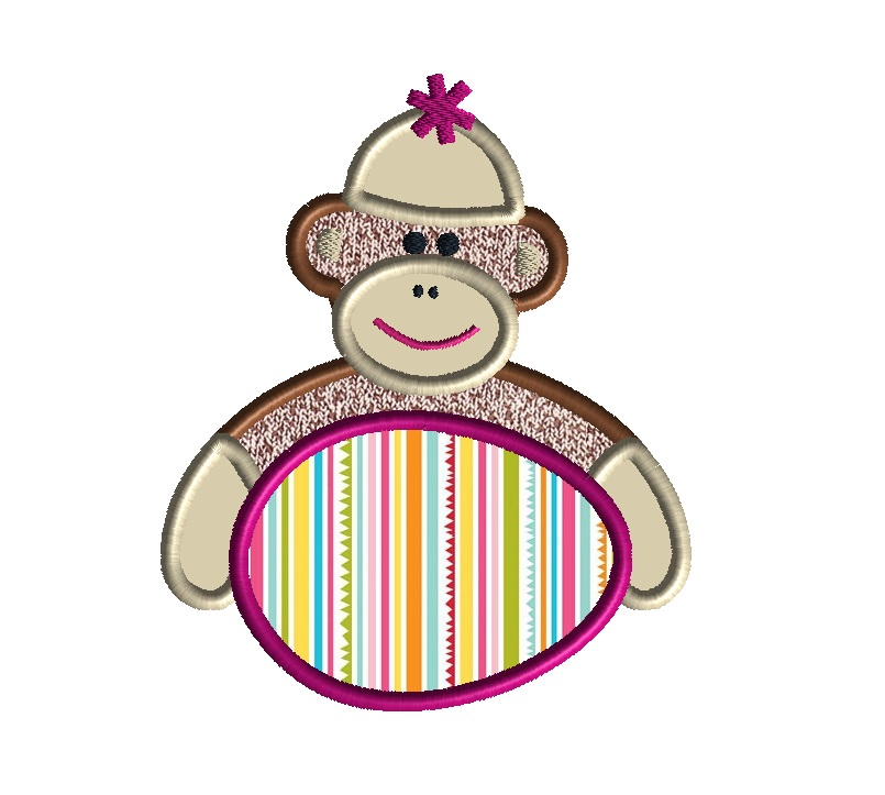 Easter Sock Monkey Applique Machine Embroidery Design
