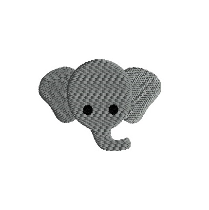 Mini Elephant Head Machine Embroidery Design - 3 sizes