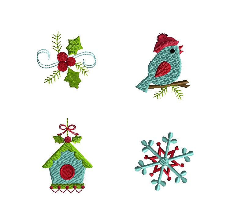 Mini winter bird machine embroidery design set