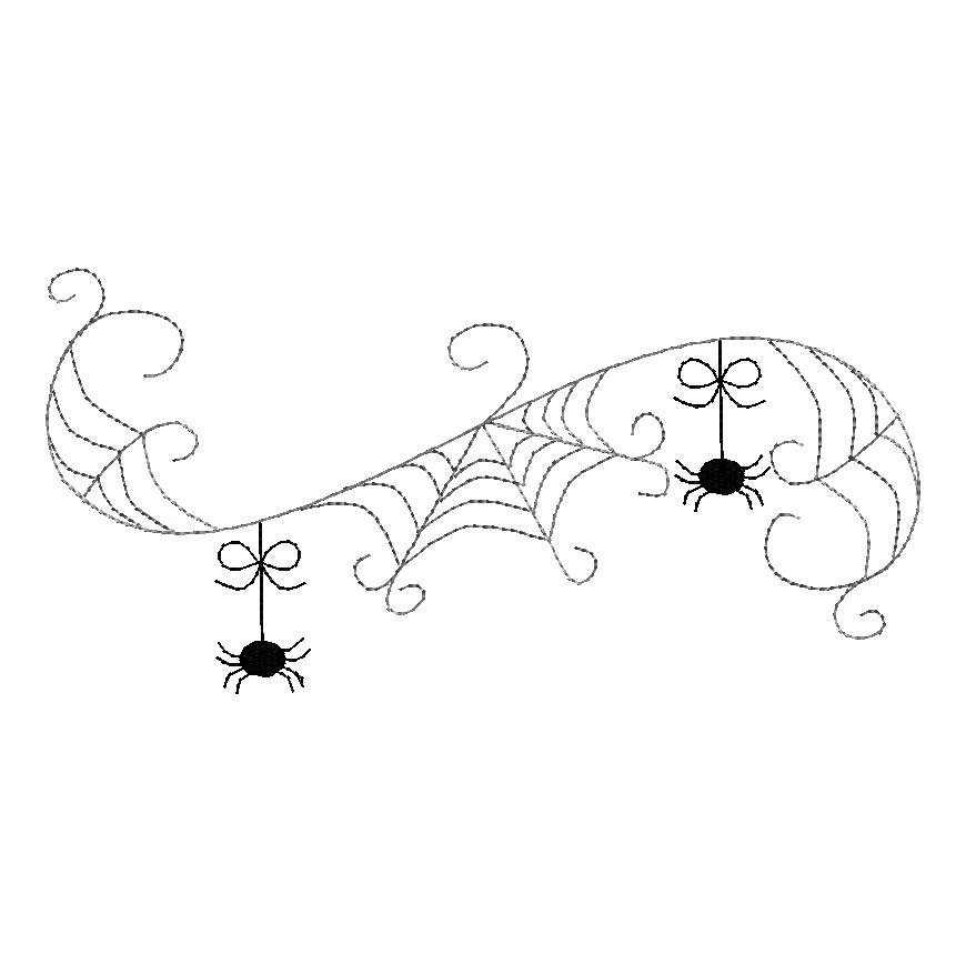 Spider Web Border Machine Embroidery Design 4 Sizes