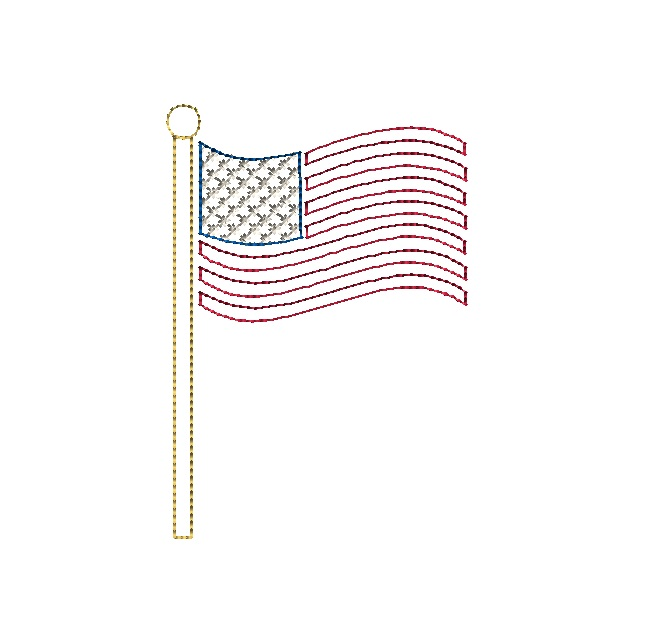 Military Stick Figures And American Flag Machine Embroidery Design Set