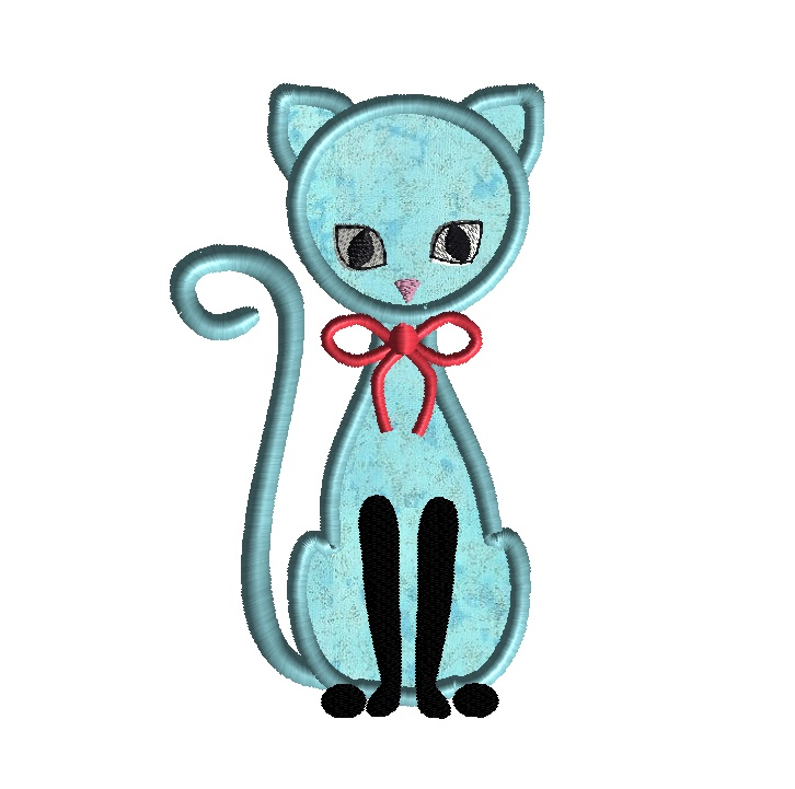 Cat Applique Machine Embroidery Design 4 Sizes