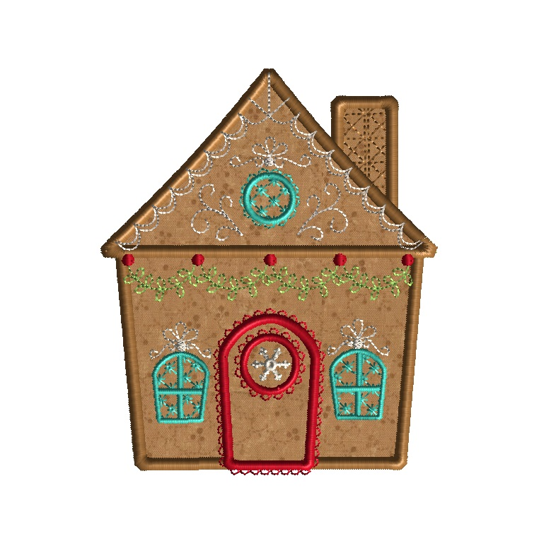 Gingerbread House 2 Applique Machine Embroidery Design - on house name plates designs, house prints designs, house of embroidery, house christmas, house finishing designs, house painting designs, house quilt designs, house drawing designs, house construction designs, house cake designs, house furniture designs, house home designs, house building designs, leaf designs, house frames, house fonts, house wallpaper designs,