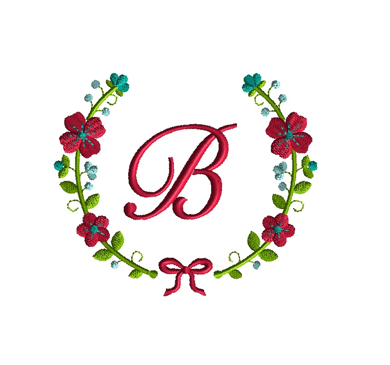 Flower Wreath Font Frame Embroidery Design for Machine Embroidery -