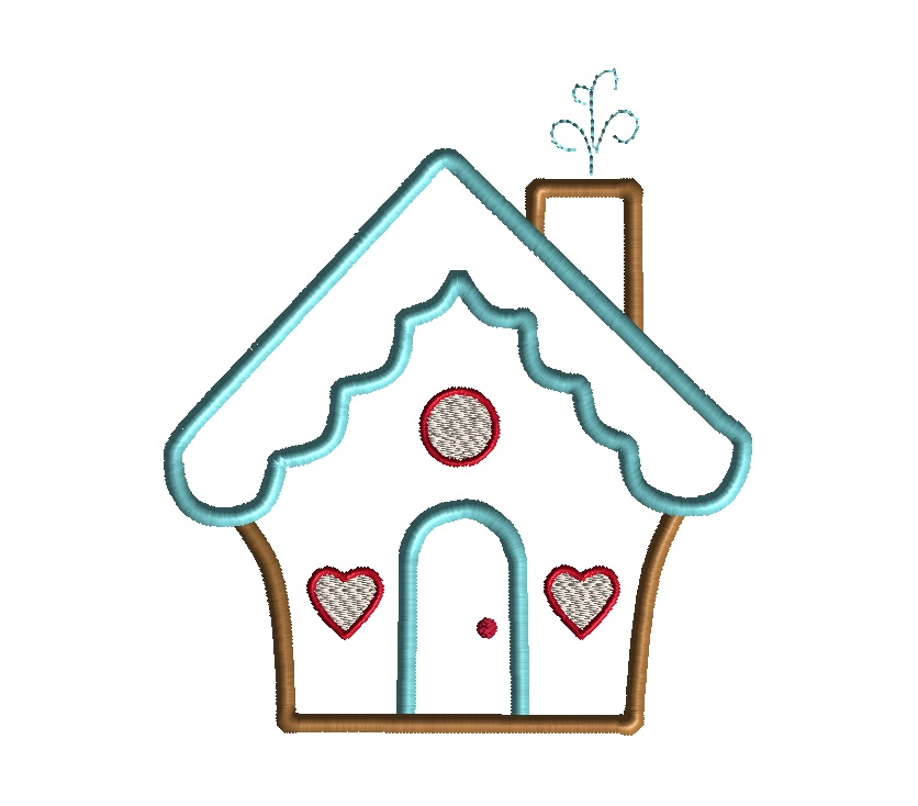 gingerbread house applique machine embroidery design