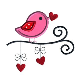 valentine bird applique embroidery design