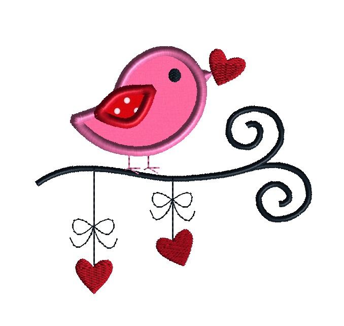 Valentine Bird 2 Applique Machine Embroidery Design