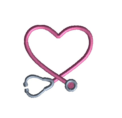 Mini Stethoscope Heart Frame Machine Embroidery Design -